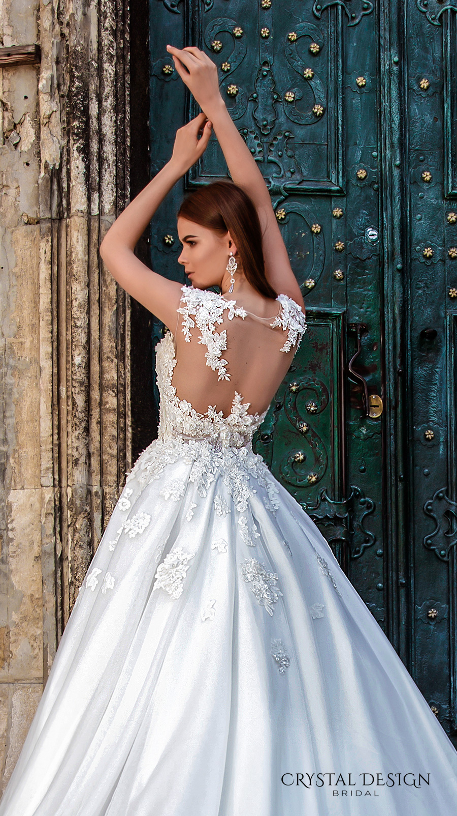 crystal design bridal 2016 sleeveless illusion boat sweetheart neckline heavily embellished bodice princess a line ball gown wedding dress sheer back royal train (pilar) zbv