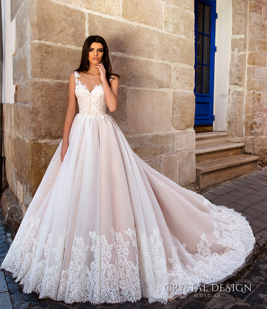 crystal design bridal 2016 sleeveless illusion round neckline v neck lace embellished bodice gorgeous princess ball gown wedding dress chapel train (avrora) fv