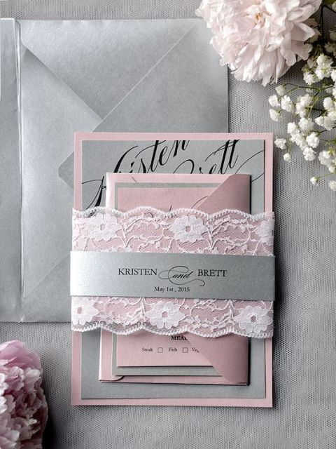 Grey and pink lace wedding invitation