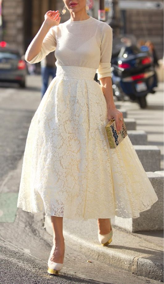 white lace midi, creamy sweater and pumps