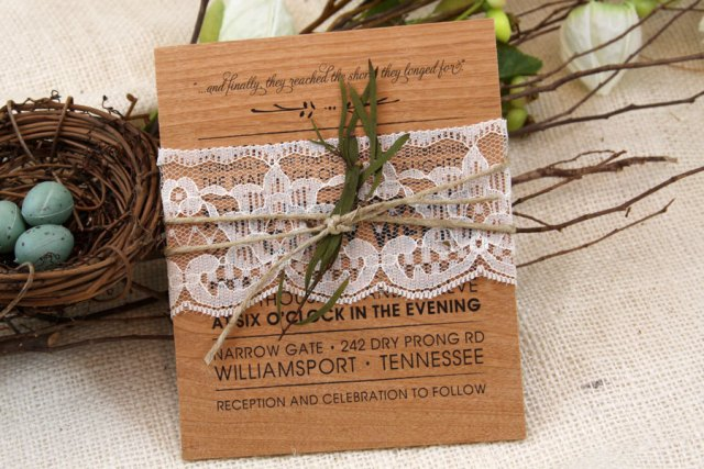 Wood wedding invitation with lace and twine