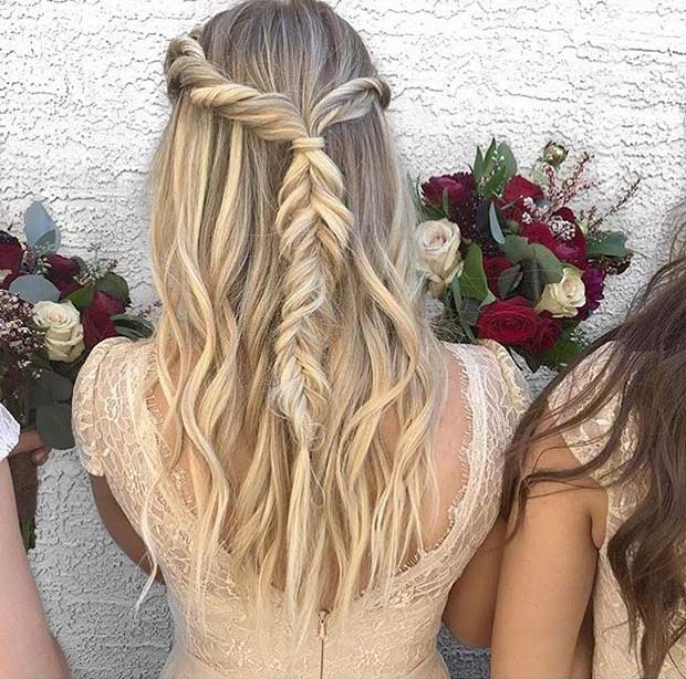 Twisted Fishtail Braid Half Updo for Bridesmaids