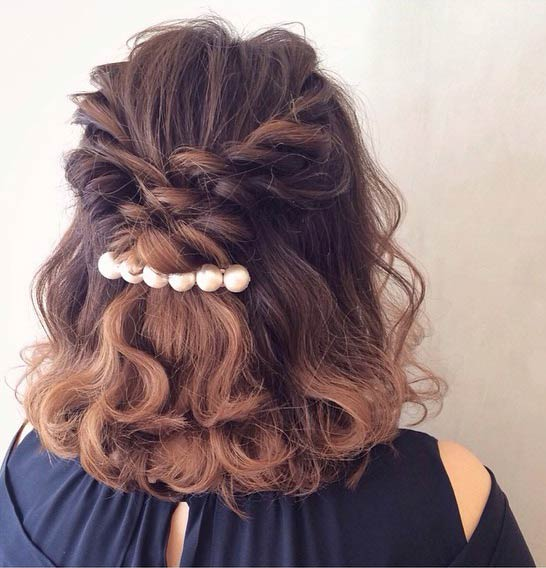Easy Curly Half Up Half Down Hairstyle for Medium Length Hair