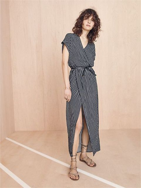 Look with striped maxi wrap dress