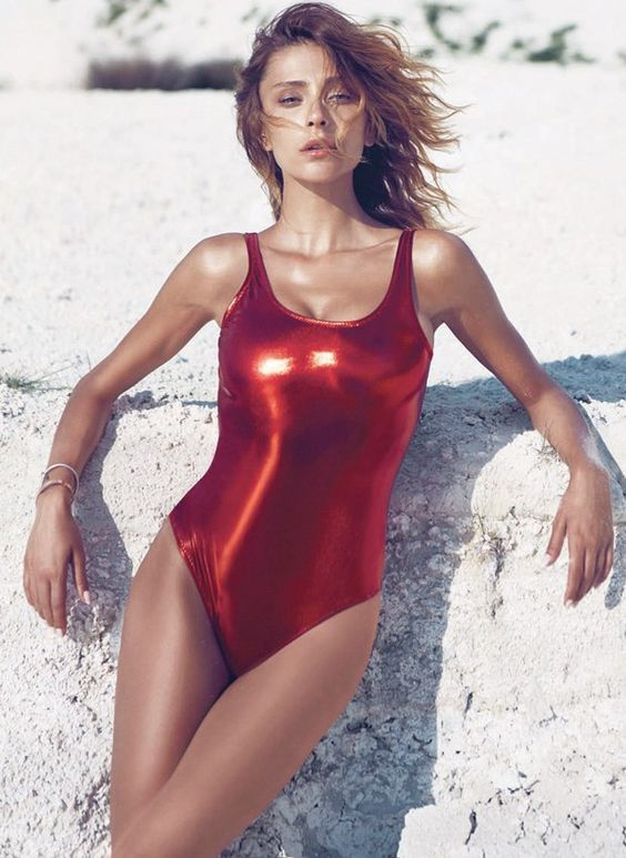 metallic red faux leather swimsuit