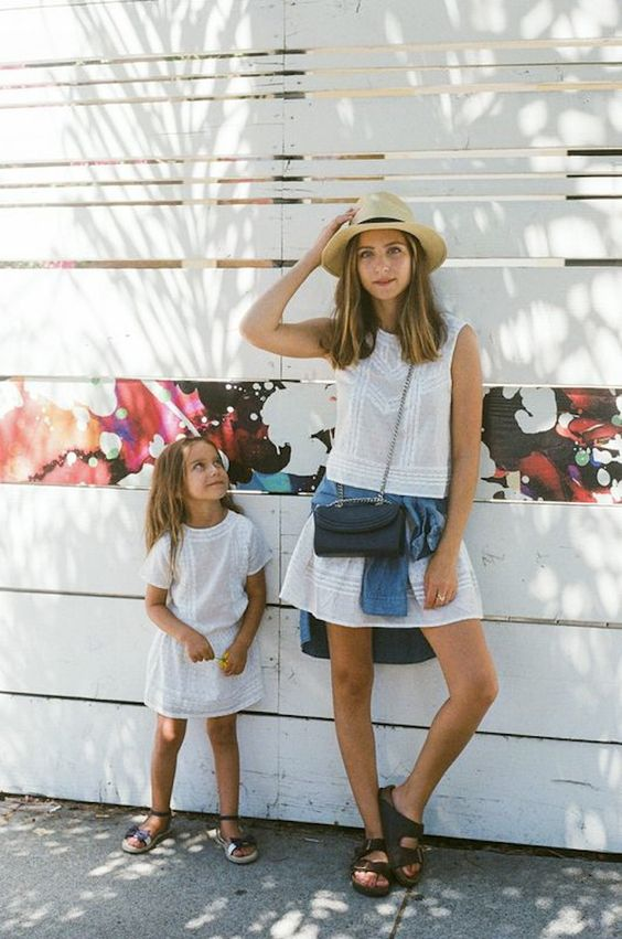 matching mom and daughter white dresses for summer