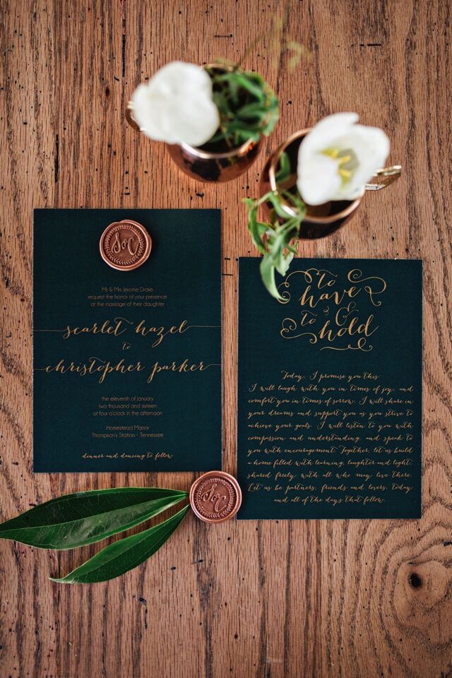 Navy invite with copper seal | Amilia Photography