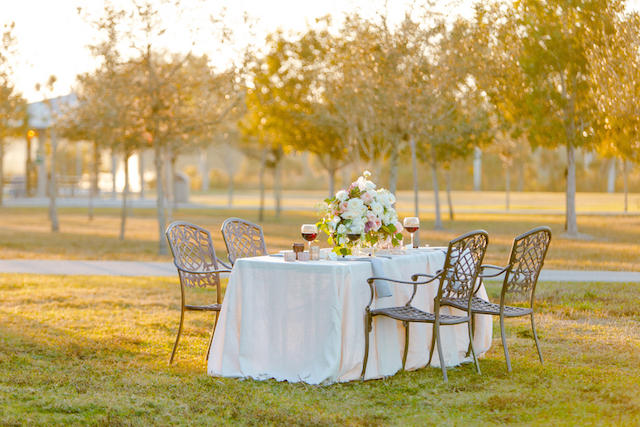 Garden table setting at sunset | Set Free Photography
