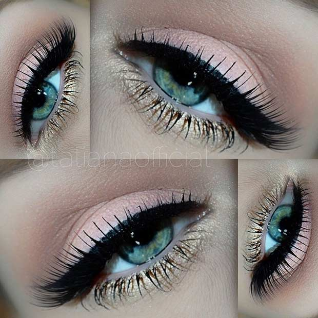 Peachy Gold Eye Makeup Look for Blue Eyes