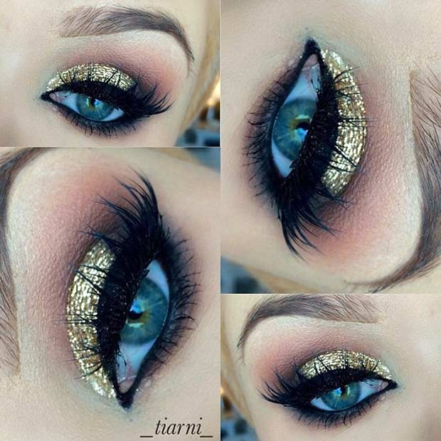 Gold Glitter Eye Makeup Look for Blue Eyes