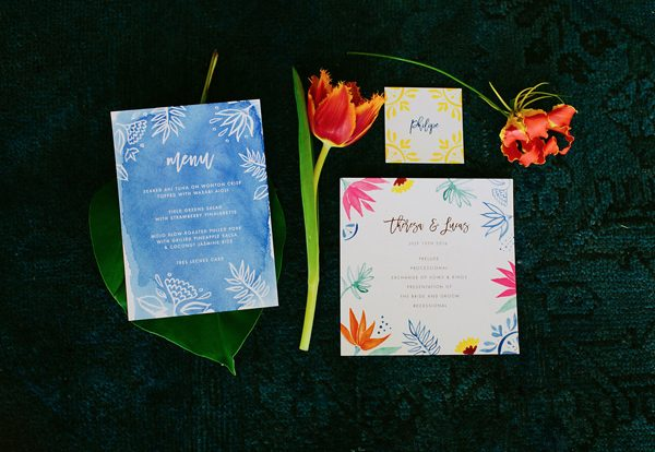 blue wedding stationery - photo by Amber Vickery Photography http://ruffledblog.com/tropical-cuban-wedding-inspiration