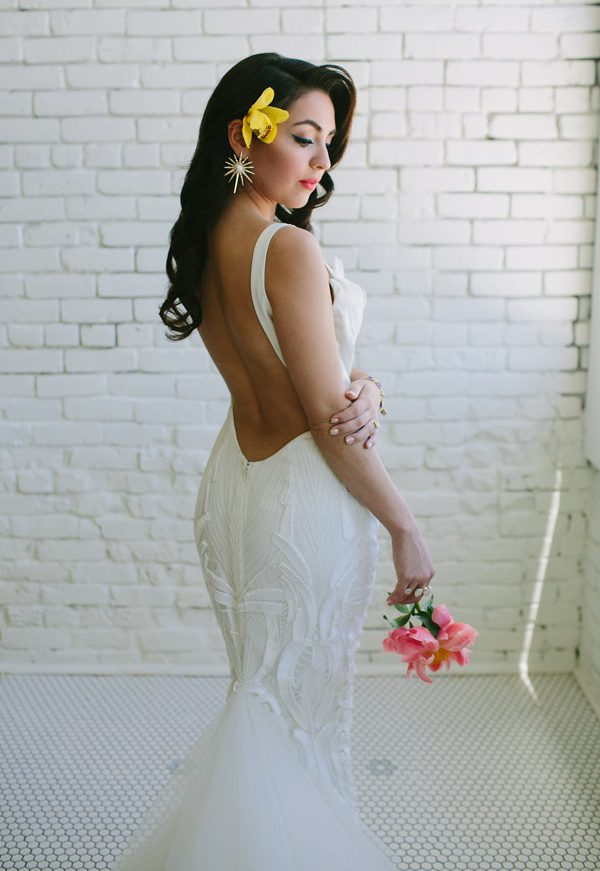 low back wedding dresses - photo by Amber Vickery Photography http://ruffledblog.com/tropical-cuban-wedding-inspiration