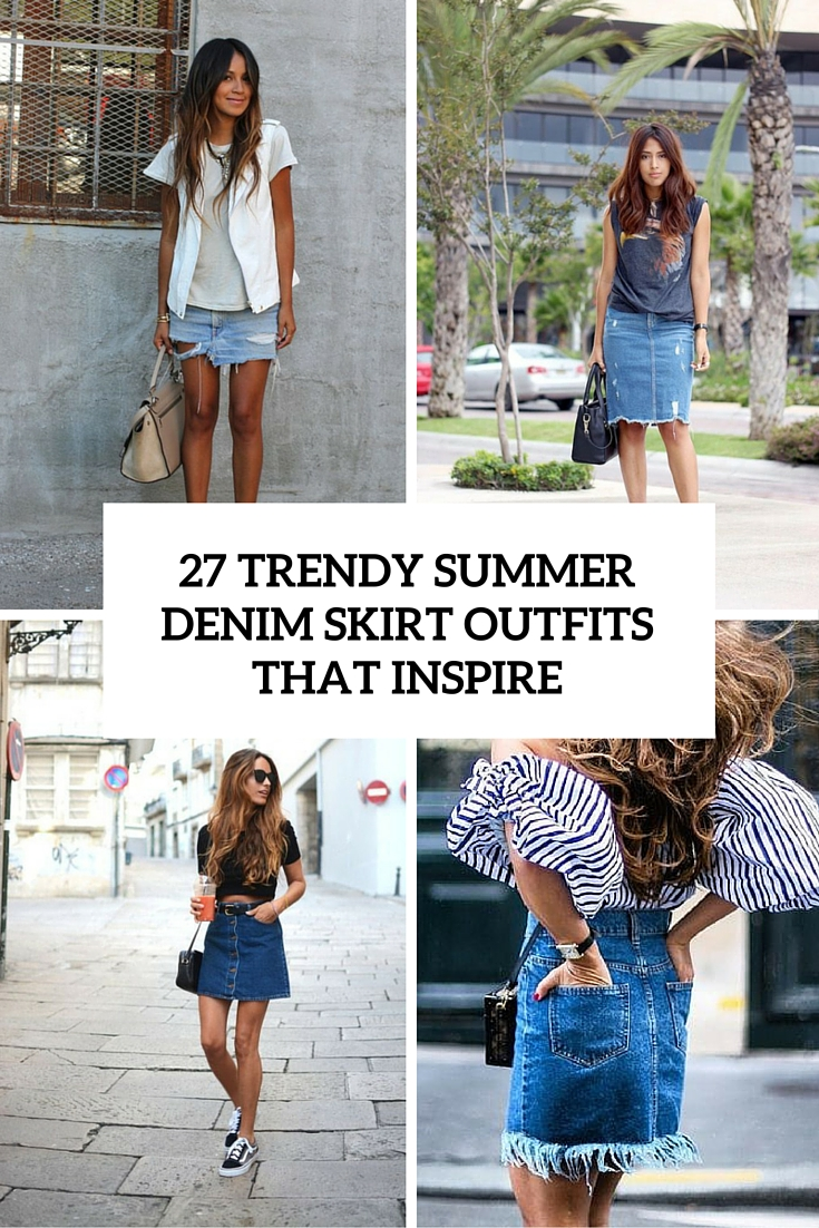 27 trendy summer denim skirt outftits that inspire cover