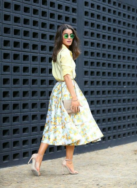 Feminine look with fruit print skirt and blouse