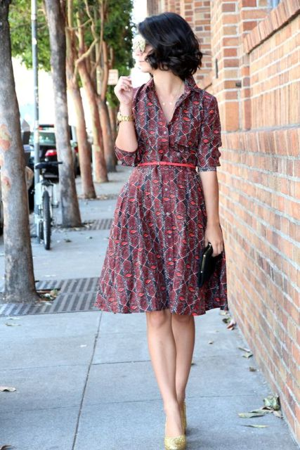 Printed shirtdress idea