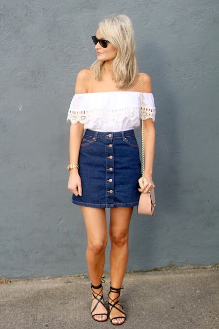 button down denim skirt with an off the shoulders top