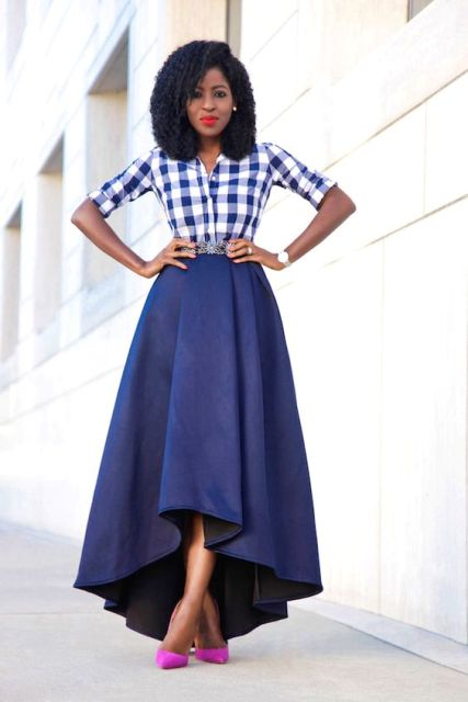 Look with high low skirt and plaid shirt