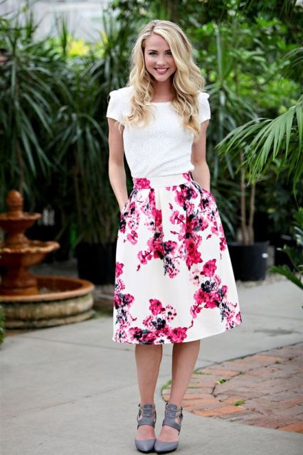 Floral watercolor skirt with white blouse