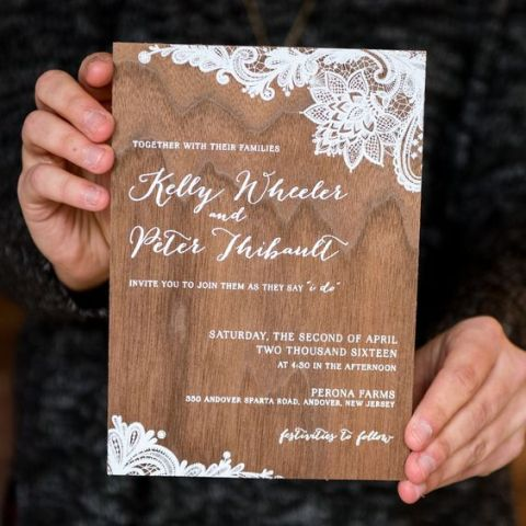 Printed wood wedding invitation