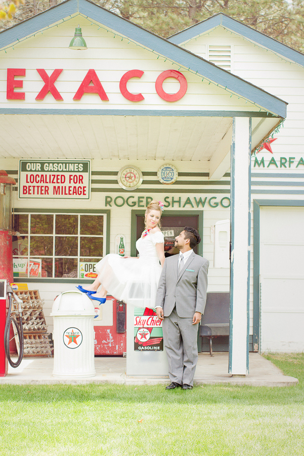 the bride rocks a retro inspired colorful look