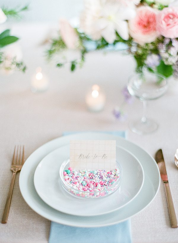 bridal shower place settings - photo by Brklyn View Photography http://ruffledblog.com/she-got-scooped-up-wedding-inspiration