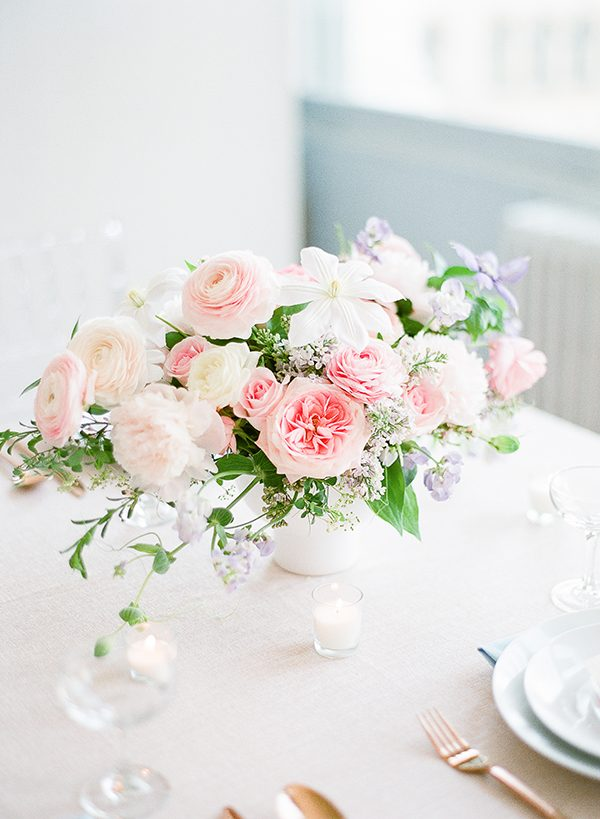 pink wedding flowers - photo by Brklyn View Photography http://ruffledblog.com/she-got-scooped-up-wedding-inspiration