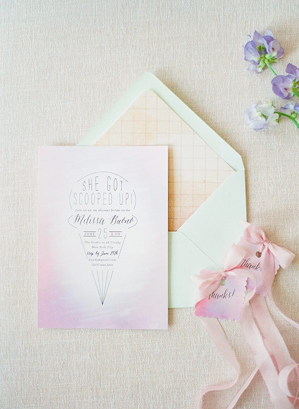 bridal shower invitations - photo by Brklyn View Photography http://ruffledblog.com/she-got-scooped-up-wedding-inspiration