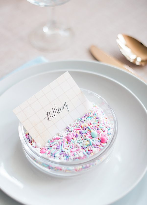 wedding place cards - photo by Brklyn View Photography http://ruffledblog.com/she-got-scooped-up-wedding-inspiration