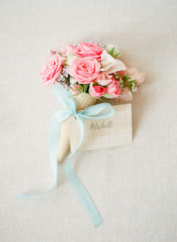 small bouquets - photo by Brklyn View Photography http://ruffledblog.com/she-got-scooped-up-wedding-inspiration