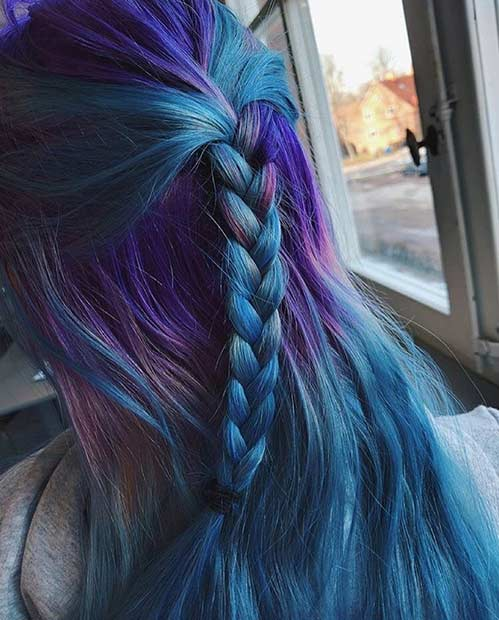 Dark Purple and Teal Blue Hair Color