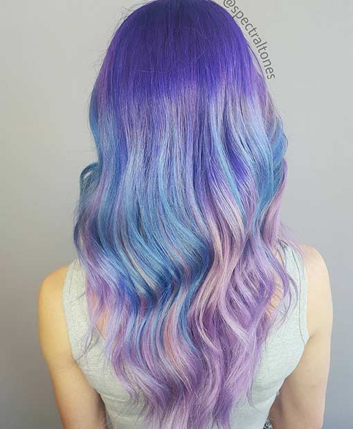 Pastel Purple and Blue Hair Color Idea