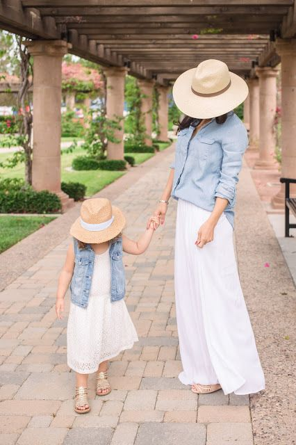 matching white lace dresses and denim jackets with hats