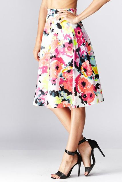 Floral watercolor skirt with heels