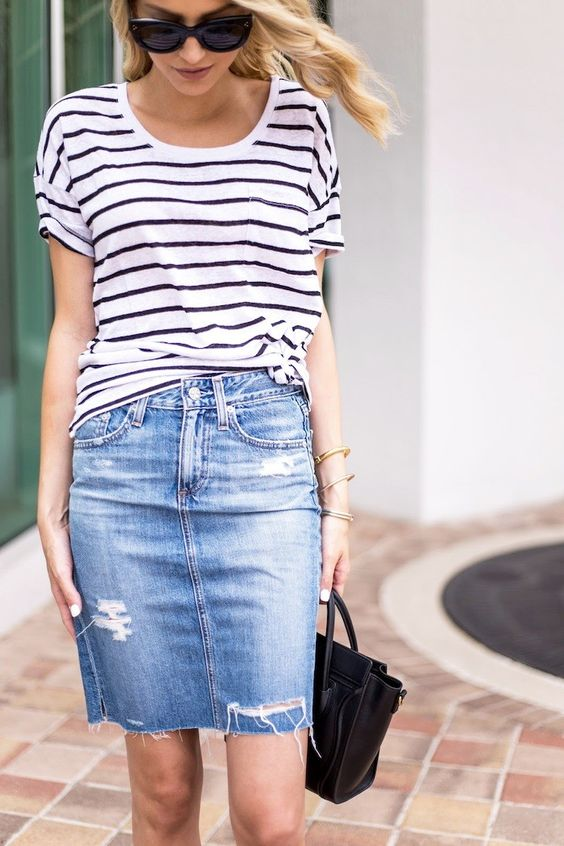 denim over the knee skirt and a striped top