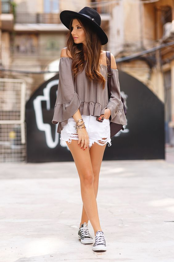 off the shoulder top and distressed shorts and converse