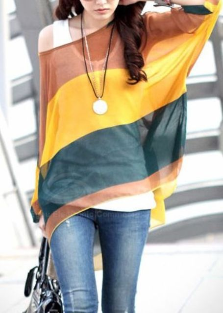 Outfit with bright sheer shirt