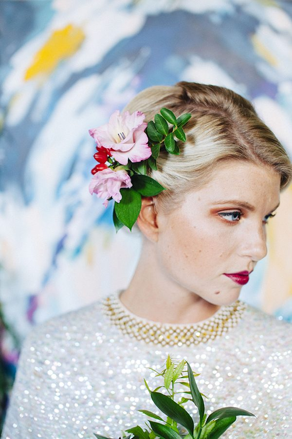 wedding floral hairpieces - photo by Ariana Clare -DIY and Styling by Kathryn Godwin http://ruffledblog.com/diy-easy-artful-backdrop