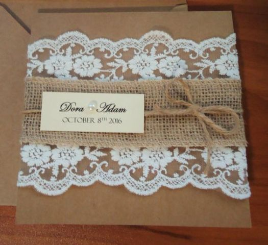 Wedding invitation with lace, burlap and twine