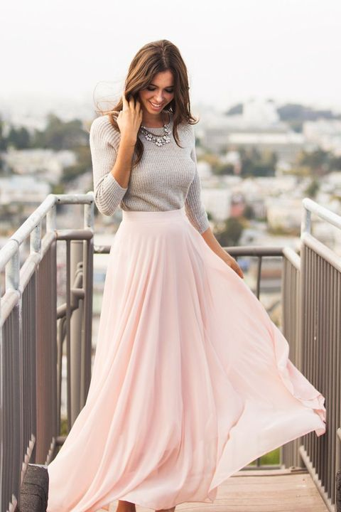 blush maxi, a grey shirt and a statement necklace