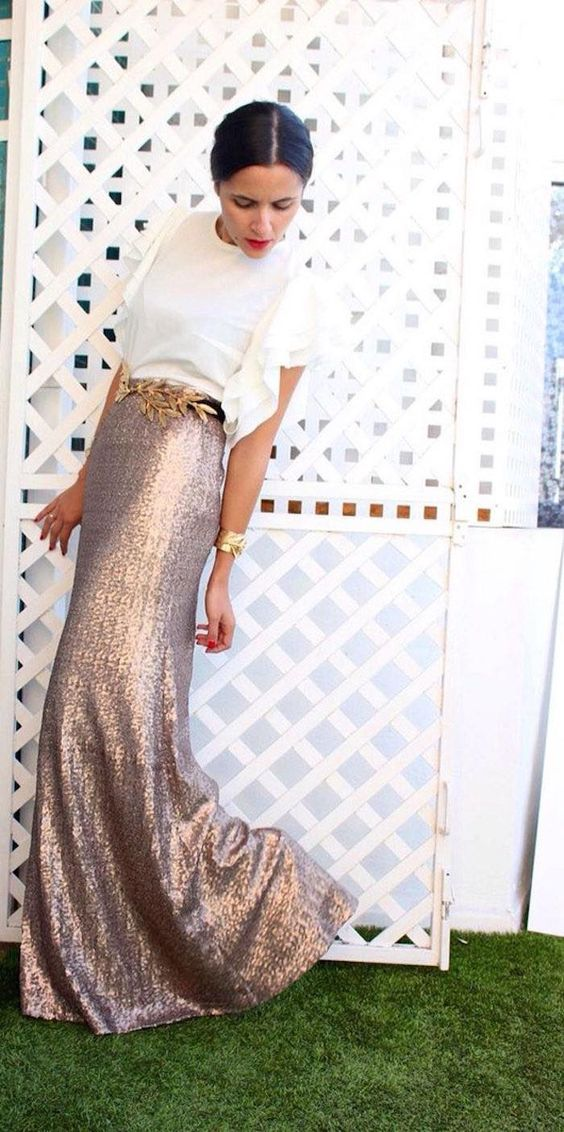 sequin maxi skirt with a ruffle sleeve white top