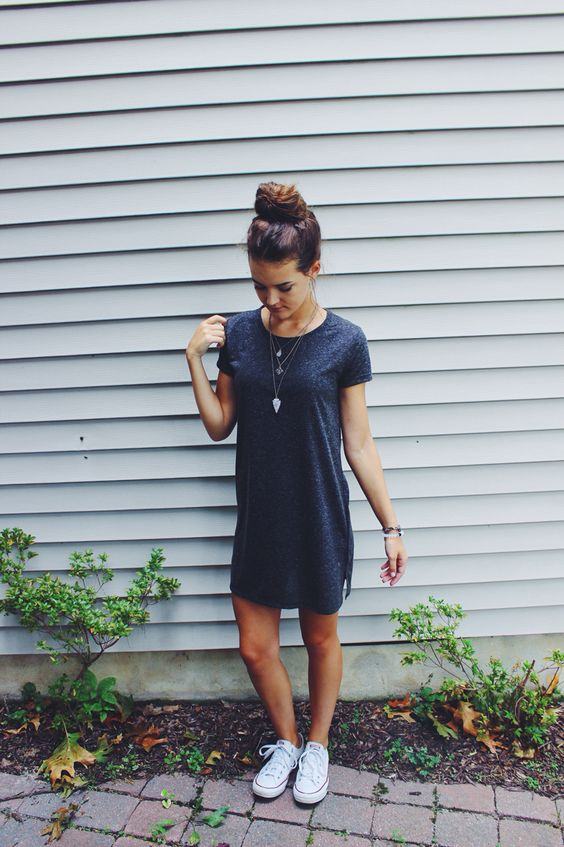 sport chic dress with white converse