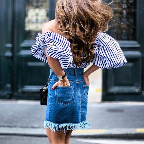 fringed denim skirt with an off the shoulder top