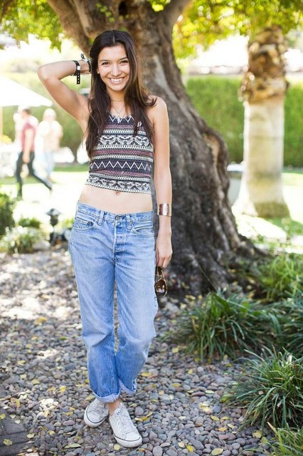 Boho chic top with low slung jeans