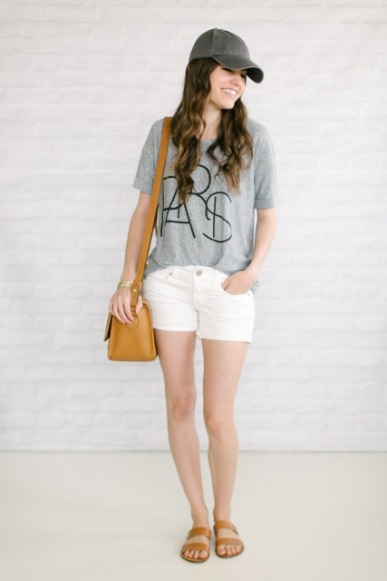 Outfit with white shorts and t shirt