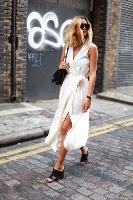 Look with wrap dress and trendy mules