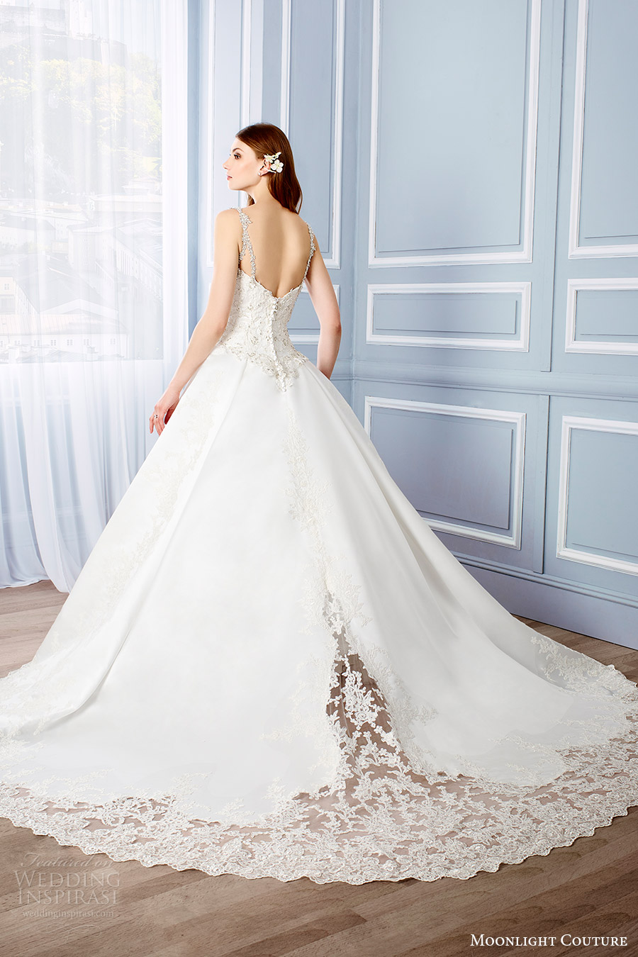 moonlight couture bridal fall 2016 sleeveless beaded straps sweetheart lace ball gown wedding dress (h1316) bv princess train