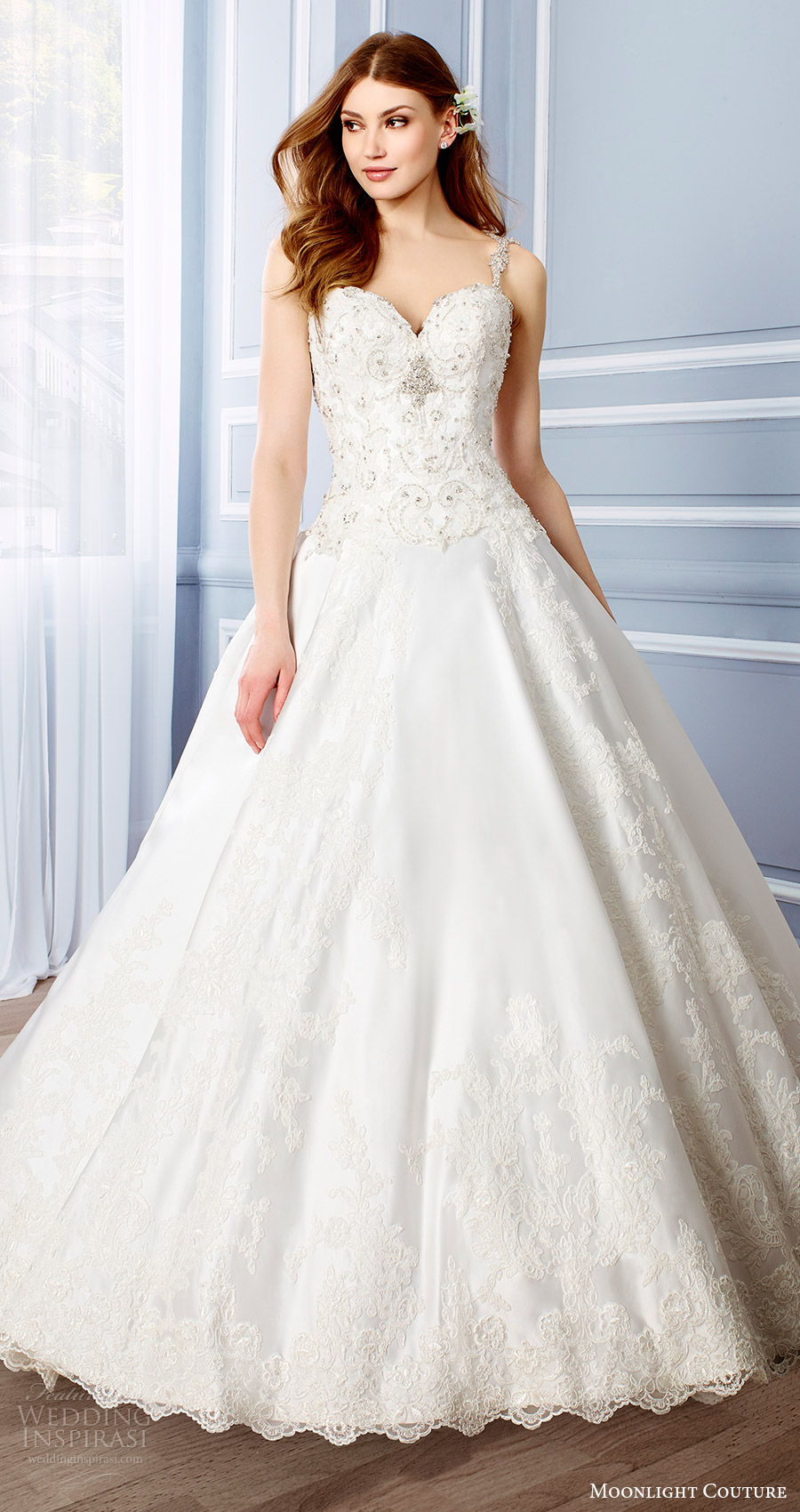 moonlight couture bridal fall 2016 sleeveless beaded straps sweetheart lace ball gown wedding dress (h1316) mv princess