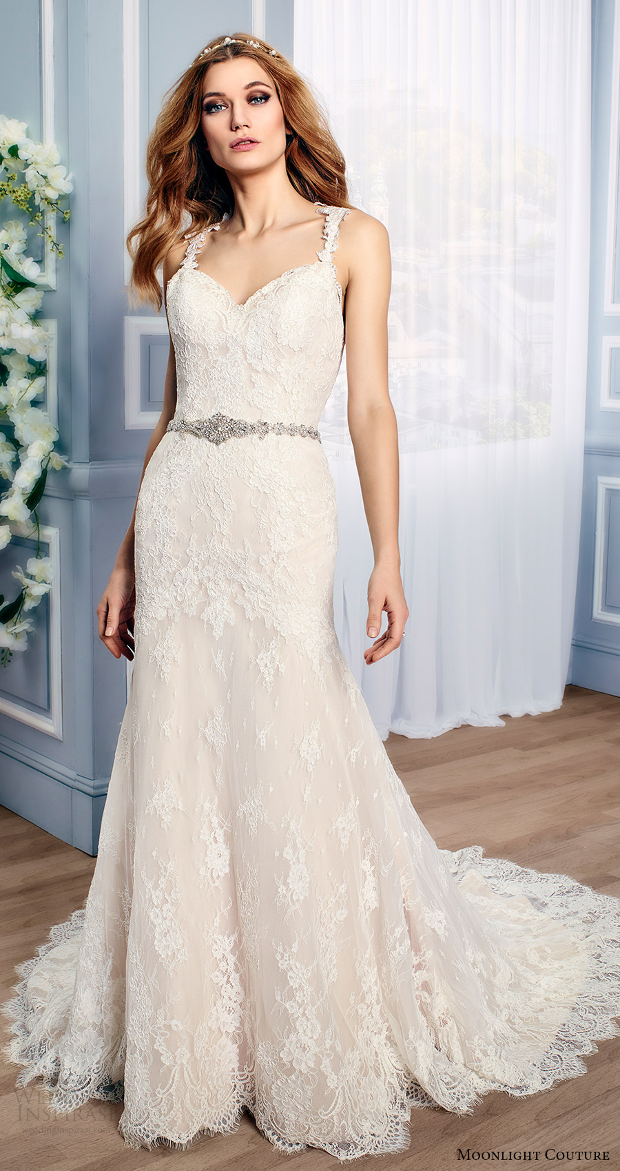 moonlight couture bridal fall 2016 sleeveless lace straps sweetheart mermaid wedding dress (h1315) mv