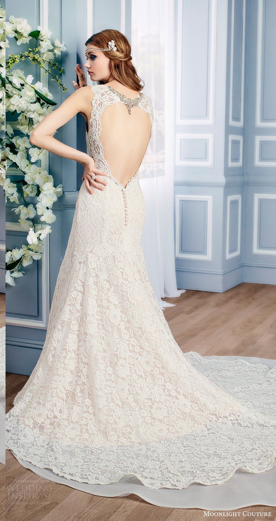 moonlight couture bridal fall 2016 sleeveless sweetheart beaded neckline thick straps lace mermaid wedding dress (h1313) bv train keyhole train