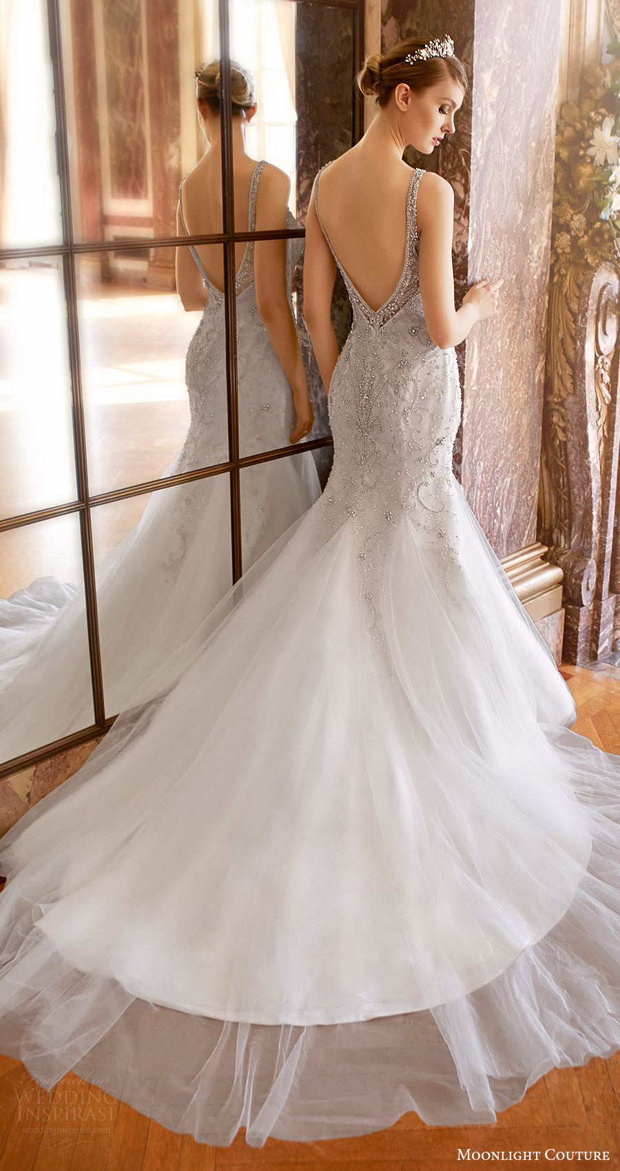 moonlight couture bridal fall 2016 sleeveless vneck beaded bodice mermaid wedding dress (h1319) bv low back train